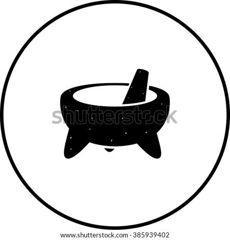 mexican molcajete mortar and pestle symbol - stock vector