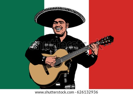 Mexican musician on a background of a flag. Vector illustration