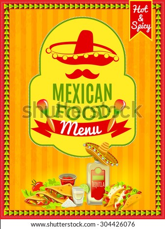 Mexican national cuisine and traditional cafe restaurant or bar menu flat bright color poster vector illustration