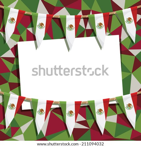mexican party card decoration with polygon background pattern, bunting and card for your text, with clipping path and transparencies - stock vector