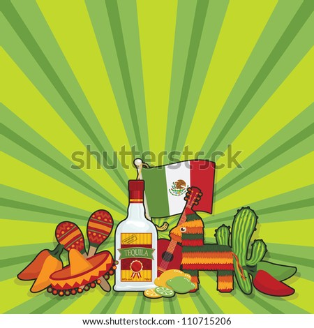 mexican party card with space for text - stock vector