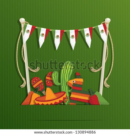 mexican party decoration with flag bunting and objects with space for text, eps 10 file with transparencies - stock vector