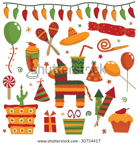 mexican party decorations with balloons, gifts, cakes, pinata, maracas and sombrero - stock vector