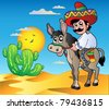 Mexican riding donkey in desert - vector illustration. - stock photo