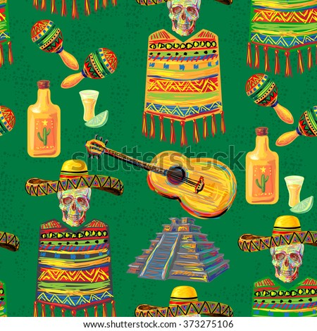 Mexican seamless music pattern with skull, sombrero hat, mustache, guitar, maracas, Aztec pyramid, poncho, tequila, lime and chill pepper vector background