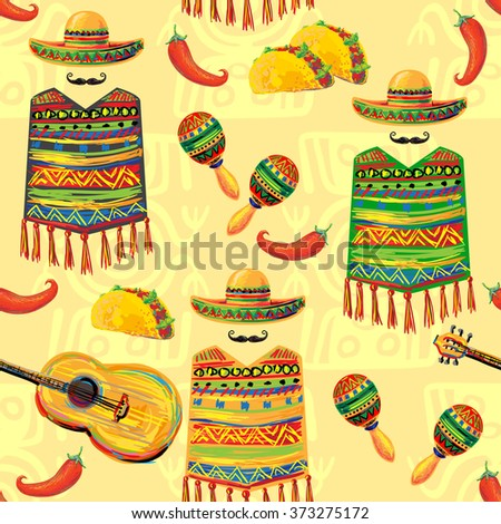 Mexican seamless music pattern with sombrero hat, poncho, mustache, guitar, maracas, taco and chill pepper vector background. Perfect for wallpapers, pattern fills, web page, surface textures, textile