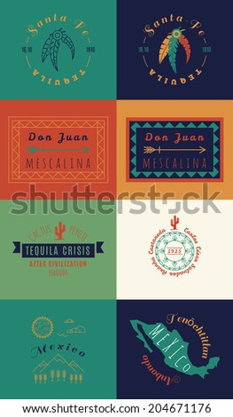 Mexican set Insignias | Day of the Dead (Spanish: Dia de Muertos) - stock vector