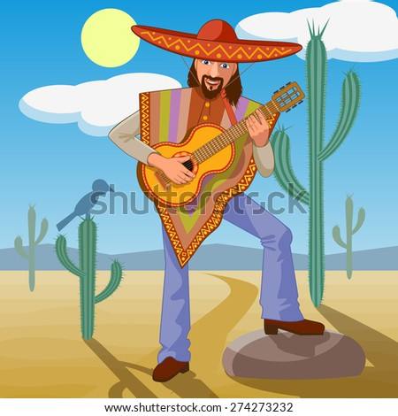 Mexican singing in the desert with a guitar