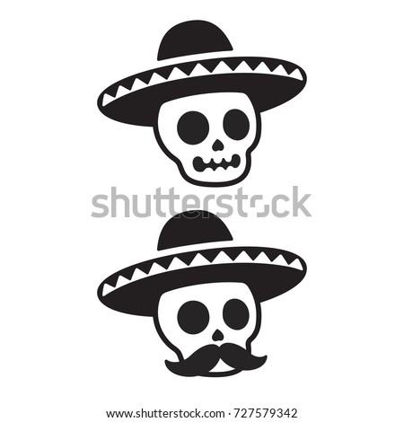 mexican skull sombrero mustache dia de stock vector 727579342 rh shutterstock com day of the dead skull vector free day of the dead skull vector free