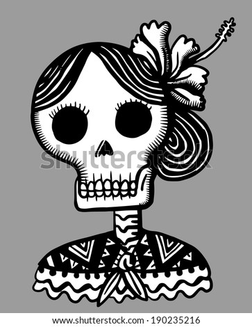 mexican skull with flower in the hair and blanket - stock vector