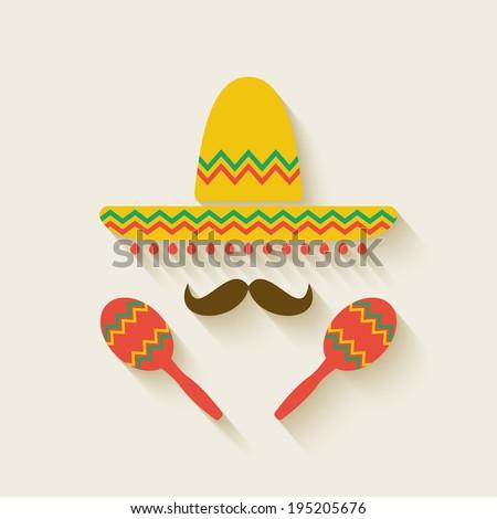 Mexican sombrero and  maracas - vector illustration. eps 10 - stock vector