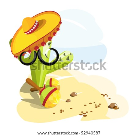 Mexican style cactus with mustaches, sombrero and maracas