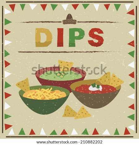 mexican styled frame with bowls of guacamole, salsa and cheese dips and tortilla chips, with transparencies - stock vector