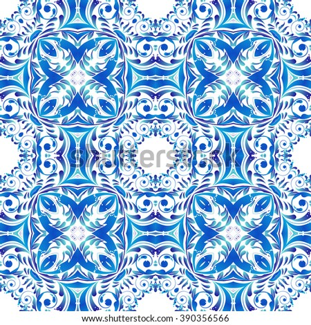 Mexican stylized talavera tiles seamless pattern. Background for design and fashion. Arabic, Indian patterns