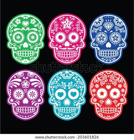 Mexican sugar skull, Dia de los Muertos colorful icons set on black  - stock vector