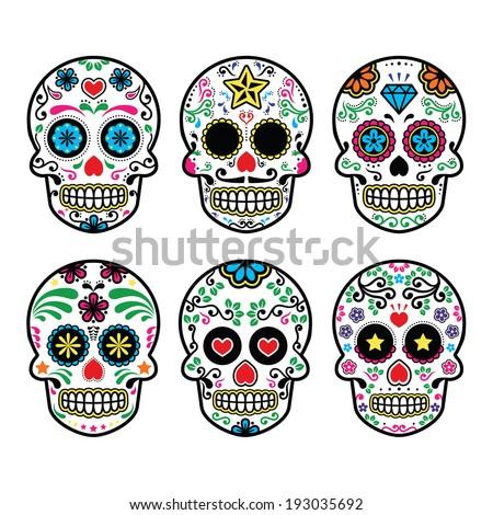 Mexican sugar skull, Dia de los Muertos icons set on white background  - stock vector