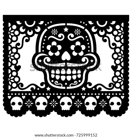 Mexican Sugar Skull Vector Paper Decorations Stock Vector 725999152 ...