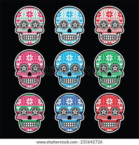 Mexican sugar skull with winter Nordic pattern on black - stock vector