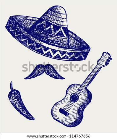 Mexican Symbols. Doodle style - stock vector