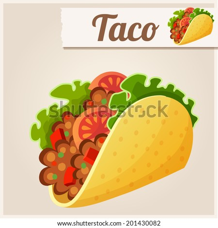Mexican Taco. Detailed Vector Icon. Series of food and drink and ingredients for cooking. - stock vector