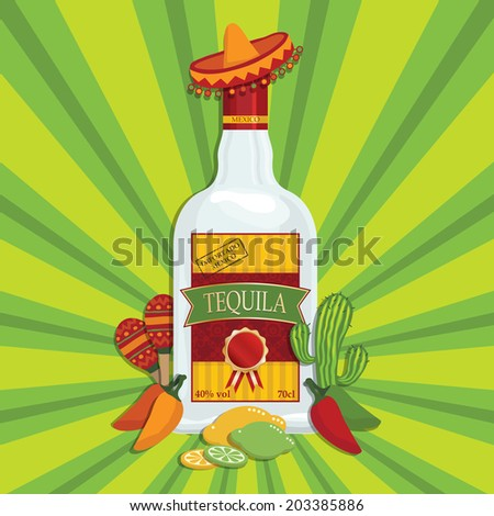 mexican themed tequila bottle decoration with maracas, cactus and chili peppers, with transparencies - stock vector