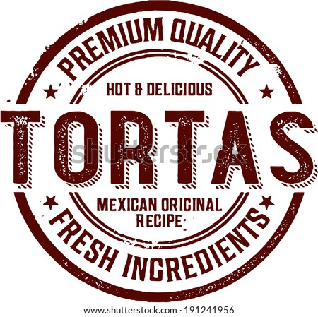 Mexican Torta Sandwich Stamp - stock vector