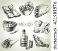 Mexican traditional food. Hand drawn sketch vector illustration. Vintage Mexico cuisine set - stock photo