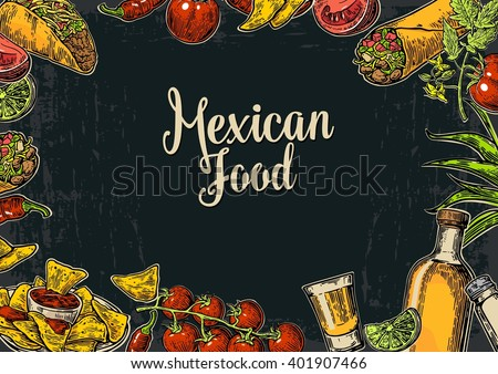 Mexican traditional food restaurant menu template with spicy dish. burrito, tacos, tomato, nachos, tequila, lime. Vector vintage engraved illustration on dark background.  For poster, web - stock vector