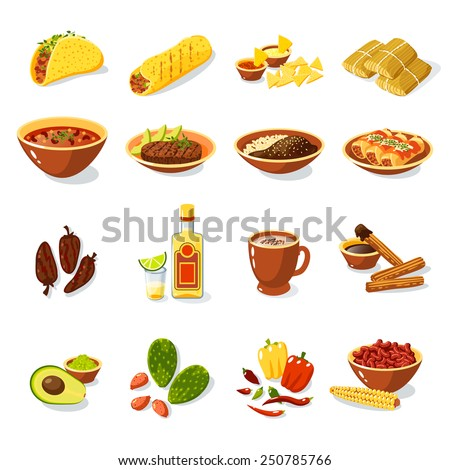Mexican traditional food set with meat avocado tequila corn isolated vector illustration - stock vector