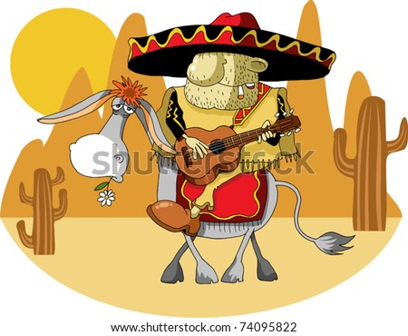 Mexican wearing a sombrero riding a donkey in the desert; - stock vector