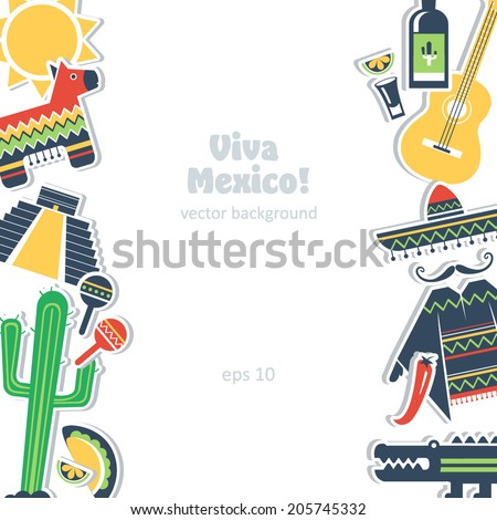 mexico background culture element set traditional - stock vector