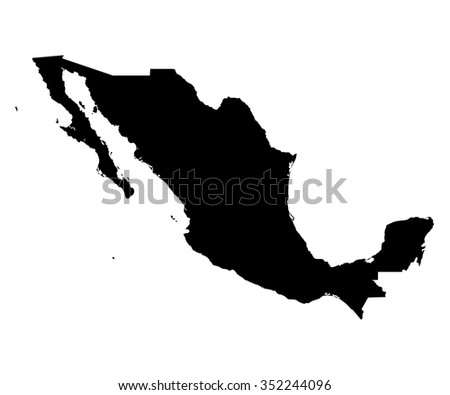 Mexico black map on white background vector