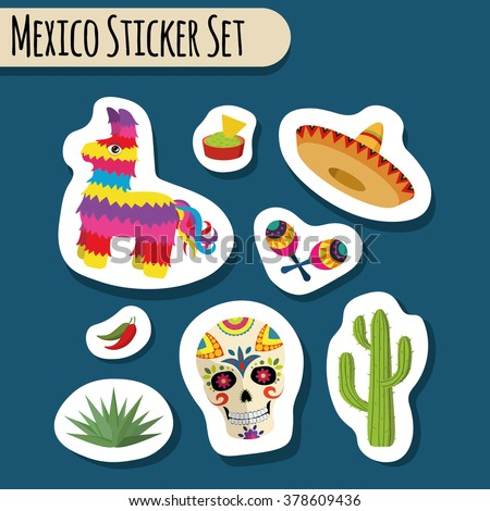 Mexico bright sticker set with national Mexican objects: sombrero, skull, agave, cactus, pinata, jalapeno peppers, maracas, guacamole and nacho chips isolated, vector illustration - stock vector