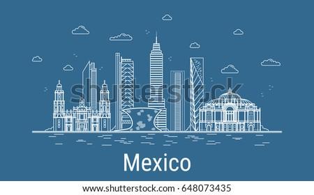 Line Art City : Mexico city line art vector illustration stock