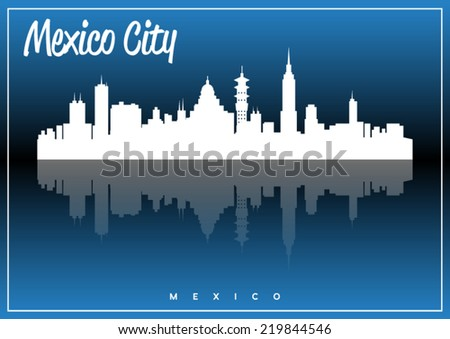 Mexico City, skyline silhouette vector design on parliament blue background. - stock vector