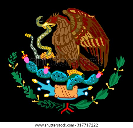 Mexico coat of arms, seal, national emblem, isolated on black background. Vector Coat of arms of Mexico, Original and simple Mexico coat of arms in official colors and Proportion Correctly.