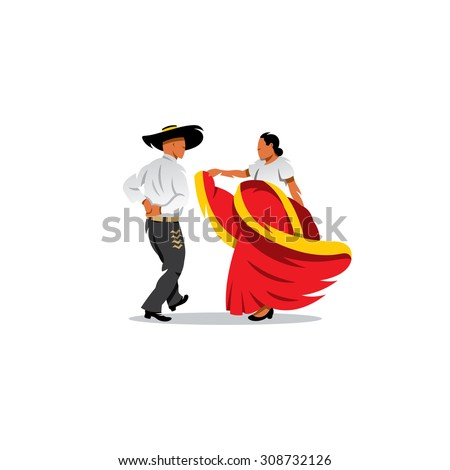 Mexico Dancers Participates at the Cinco De Mayo festival. Mexican and Latin music folk celebration. Vector Illustration. Branding Identity Corporate logo design template Isolated on white background - stock vector