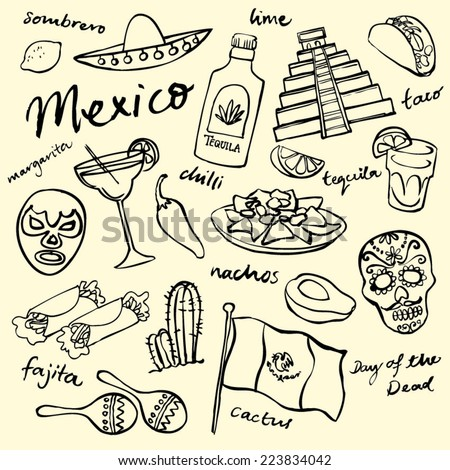 Mexico doodle icons set - stock vector