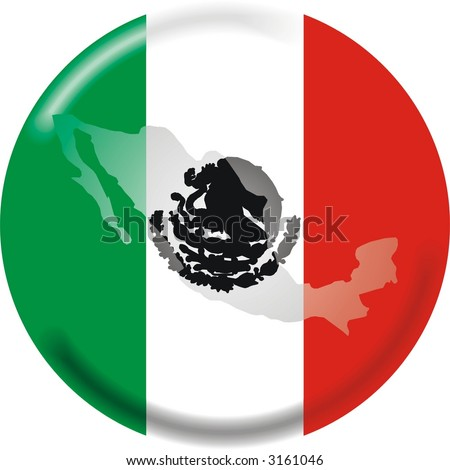 mexico flag and map - stock vector
