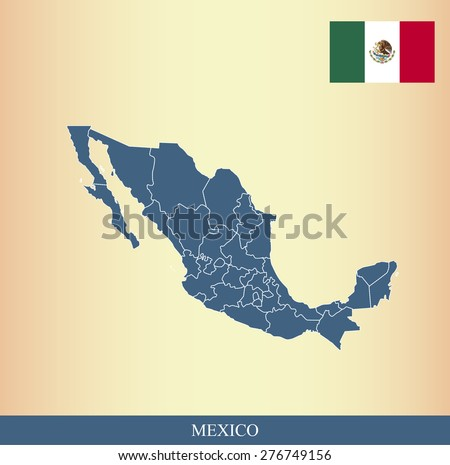 Mexico flag and map outlines with boundaries of counties or provinces or states on an abstract background, vector map of Mexico with Mexican Flag  - stock vector