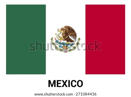 Mexico Flag isolated vector in official colors and Proportion Correctly - stock vector