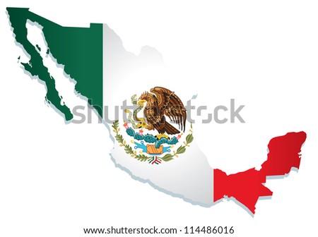 mexico flag vector - stock vector