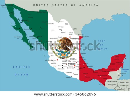 Mexico highly detailed political map with national flag. - stock vector