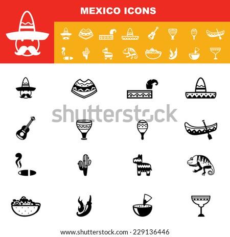 mexico icons vector - stock vector