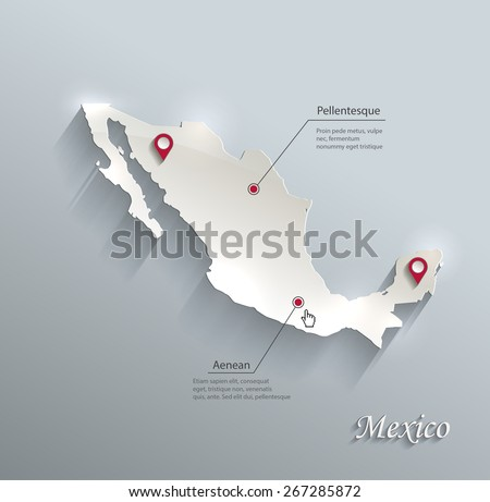 Mexico map blue white card paper 3D vector - stock vector