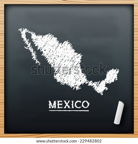 Mexico map chalkboard design effect  in vector format - stock vector