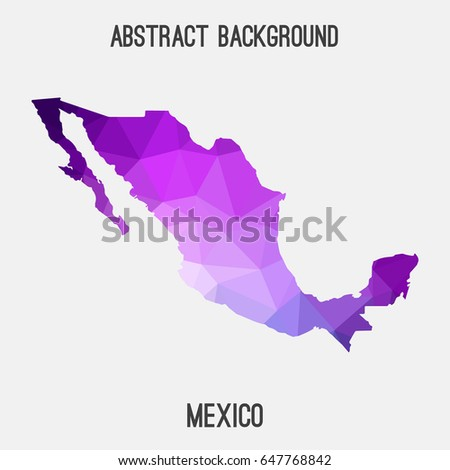 Mexico map in geometric polygonal,mosaic style in purple shades.Abstract tessellation,modern design background,low poly. Vector illustration.