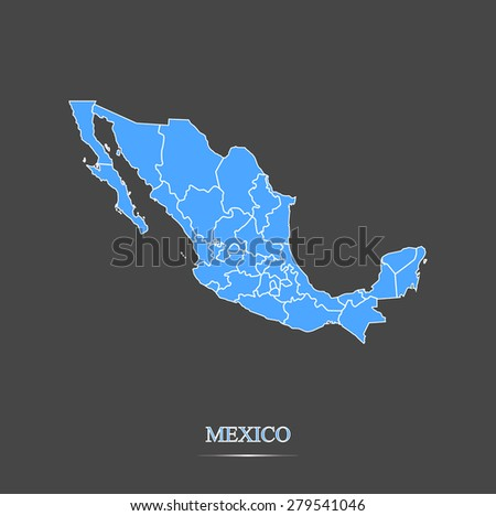 Mexico map outlines in highlighted grey background, vector map of Mexico in contrasted design for brochure template, tourist map, advertisement, web page design, science and education uses - stock vector