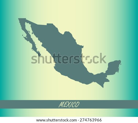 Mexico map outlines on an abstract background for designing brochure template, advertising design for tourist map, and web-page template or construction - stock vector