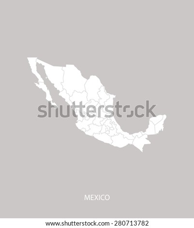 Mexico map outlines with counties or states or provinces in faded grey background, Mexico map vector for brochure template, tourist map, advertisement, web page design, science and education uses - stock vector